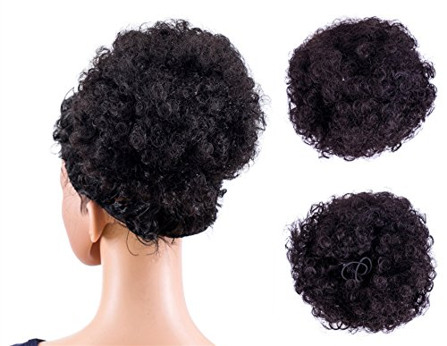 SWACC Afro Puff Drawstring Ponytail Kinky Curly Afro Clip on Updo Chignon Bun Hair Piece Extensions for African American Women Medium Size