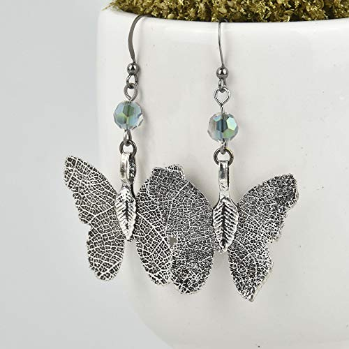 Oxidized Sterling Silver Butterfly Earrings Filigree JLR0246 (Butterfly Earrings Oxidized)