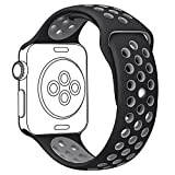 OULUOQI Apple Watch Band 42mm, Soft Silicone iwatch Band with Ventilation Holes for Apple Watch Nike+, Apple Watch Series 1/2, Sport & Edition, M/L Size ( 42mm -- Black / Gray )
