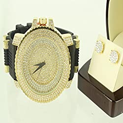 Ice Master Techno Men 14k Yellow Gold Finish Bullet Watch Tier Style Earring 925