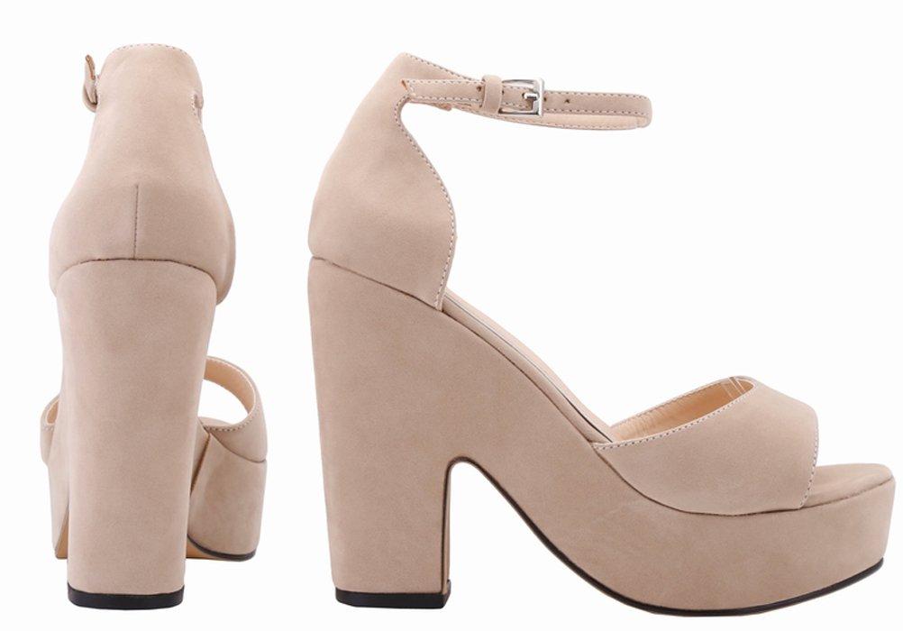 Salabobo Womens Sexy Fashion Night Club Party Platform Heighten Block Heel Wedges Cloth Sandal B01M04HS1E 8 B(M) US|Nude