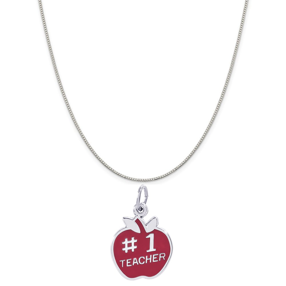 Rembrandt Charms Sterling Silver Red Enameled Number One Teacher Apple Charm on a 16 Box or Curb Chain Necklace 18 or 20 inch Rope