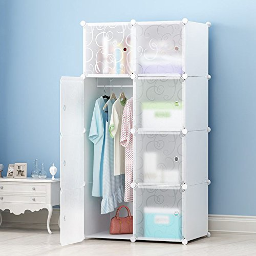 MEGAFUTURE DIY Portable Wardrobe Clothes Closet Modular Storage Organizer Space Saving Armoire Deeper Cube With Hanging Rod 8 cubes by JOISCOPE