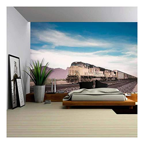 Train Mural - wall26 - Freight Train Running Travelling Arizona Desert - Removable Wall Mural   Self-Adhesive Large Wallpaper - 66x96 inches