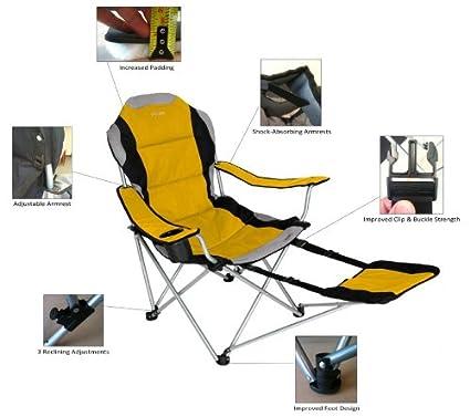 f8093f74310 Amazon.com: Sportline Xl Quad-Fold Chair with Footrest Color: Blue: Garden  & Outdoor