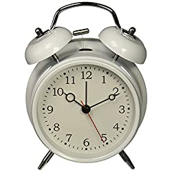 HITOÂ 4 Silent Quartz Analog Twin Bell Alarm Clock with Nightlight and Loud Alarm (NO2)