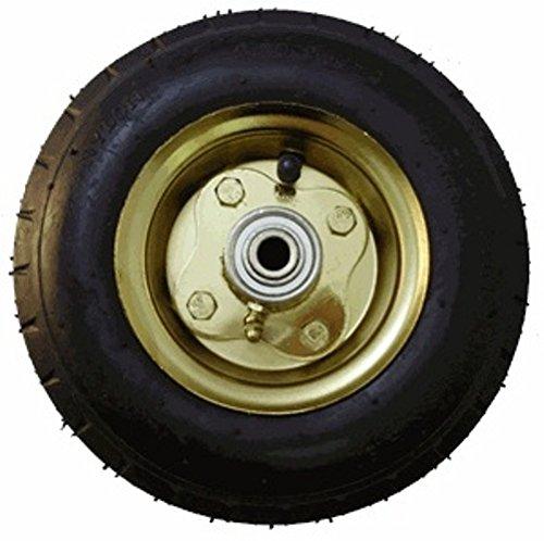 8'' Brass Plated Black Pneumatic Wheel, 3-3/16'' Hub, 3/4'' Ball Bearings