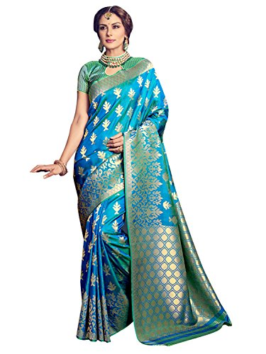 Women Banarasi Art Silk Woven Saree l Indian Wedding Wear Sari (Turquoise) ()