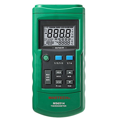 Mastech MS6514 Dual Channel Digital Thermometer Temperature Logger Tester USB Interface 1000 Sets Data KJTERSN Thermocouple 0.1 Ct Channel Set