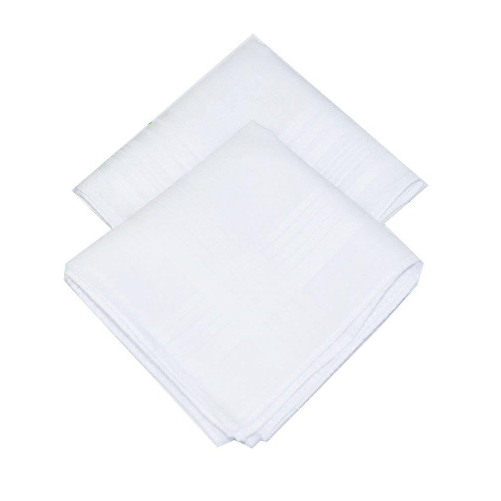 La Closure Mens Solid White 100% Cotton Handkerchiefs Pack Bulk