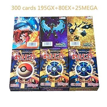 kfghjdg 300 Piezas Pokemon Tarjetas (195GX+80EX+25MEGA ...