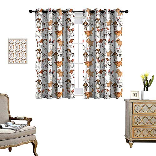 homehot Dog Lover Blackout Window Curtain Cartoon Style Chihuahua Terrier Bulldog and Beagle Funny Characters Purebred Pets Customized Curtains Multicolor