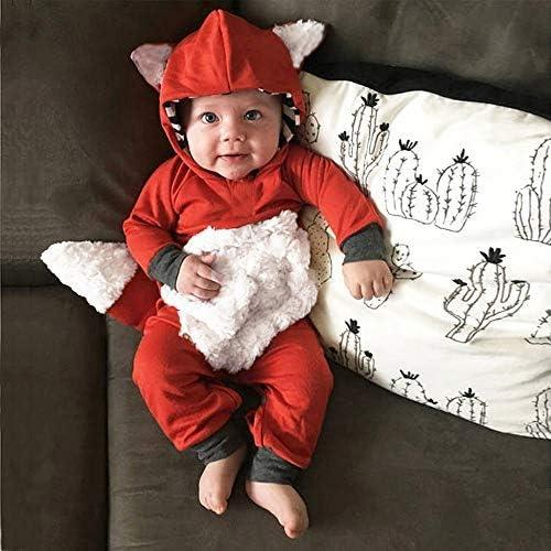 6 mois Webla Pyjama B/éb/é Filles Gar/çons Combinaisons /à Capuche en Coton Grenouill/ères Bodys /à Manches Longues 3D Renard Cartoon Barboteuse