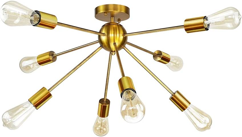 Sputnik Chandeliers,Longwind 8 Light Brass Semi Flush Mount Ceiling Light,Brushed Brass Modern Pendant Lighting Gold Industrial Vintage Ceiling Lights Fixture