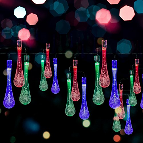 Solar LED Water Drop String Lights - 20ft, 30 LED Bulbs - Nicest Multi-color Waterproof Fairy Lights for Home & Garden, Christmas Tree, Window, Fence, Party & Holiday Decorations - Easy Installation!