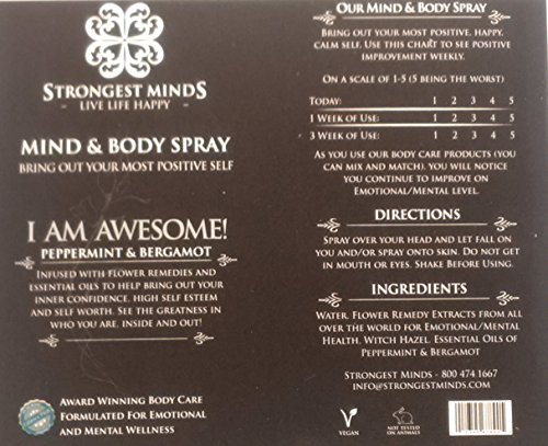 "MIND & BODY Spray ""I AM AWESOME"" for Men & Women combines Powerful Flower Remedies & Essential Oils for Confidence, Positivity, Feel Strong, Look Great. Bergamot & Peppermint Natural Emotional Therapy"