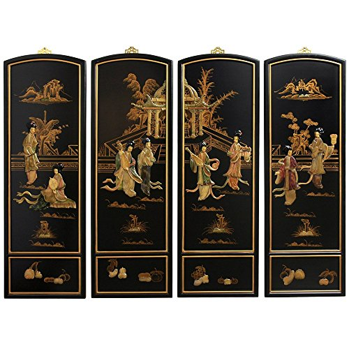 Oriental Furniture Ladies Soapstone Wall Plaques ()