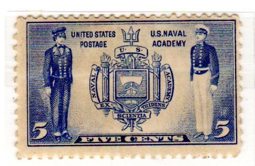 USPS Postage Stamps United States. One Single 5 Cents Ultra, Seal of U.S. Naval Academy and Naval Midshipmen Stamp, Dated 1937, Scott #794