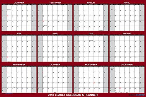SwiftGlimpse Wall Calendar 2018, Yearly, 24 x 36