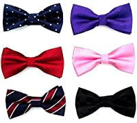 FASHION ALICE Casual Men's 6pc Adjustable Pre-tied Mens Bow Tie necktie Accessory Set Wedding Party Bowtie