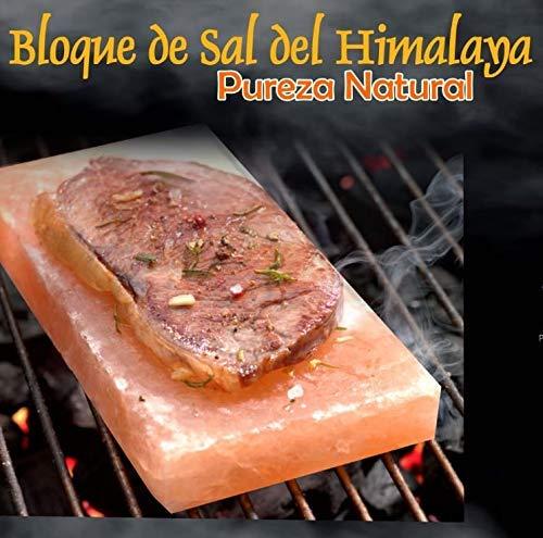 Bloque Tabla Plancha de Sal del Himalaya para asar carnes con base de acero 30x20x3.8cm (12X8X1.5pulg)