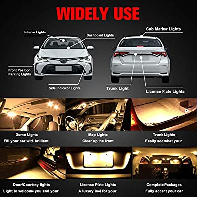 Boodled 20 x T10 RV Trailer 921 192 1206 42-SMD 12V Car Backup Reverse LED Bulbs 6000k Super White / 3500K Warm white.(20Pcs Warm White -White Board).: Automotive