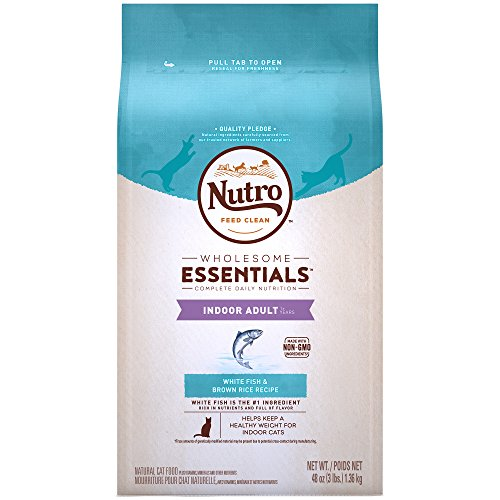 NUTRO WHOLESOME ESSENTIALS Indoor Adult Natural Dry Cat Food White Fish & Brown Rice Recipe, 3 lb. Bag