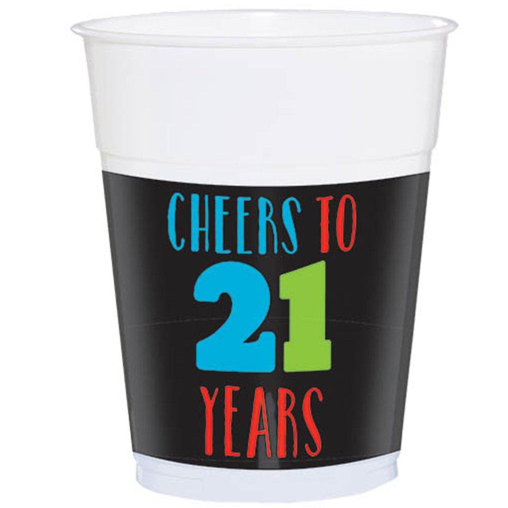 21st Happy Birthday Plastic Cups Amscan 421566
