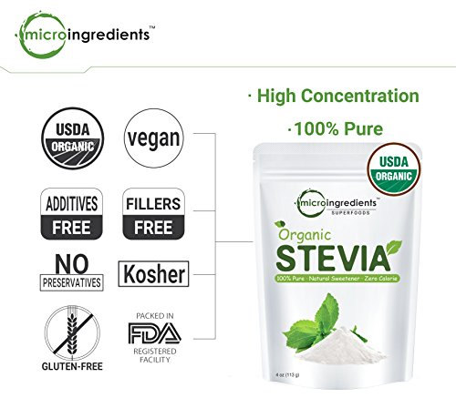 Pure Organic Stevia Powder - 8 Ounce / 1418 Serving, Zero Calorie, Natural Sweetener and Sugar Alternative, Best Organic Flavor for Smoothie, Beverage and Drinks, Non-GMO and Vegan Friendly by Micro Ingredients (Image #5)