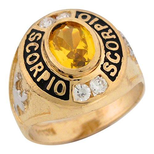 14k Two Tone Gold 2.1ct Yellow CZ Simulated November Birthstone Enamel Scorpio Zodiac Ring