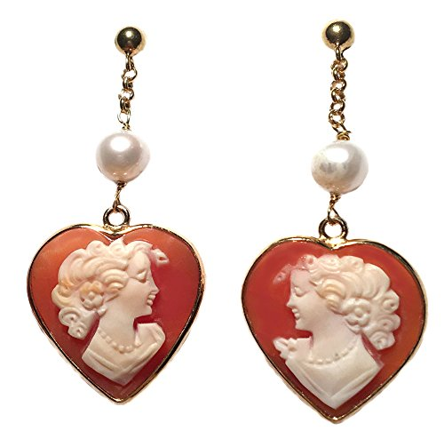Cameo Earrings Post Back Dangle Italian Master Carved, Sterling Silver 18k Gold Overlay Heart Shape with Pearl Natural Fresh Water Insert (Earring Cameo Heart Shape)