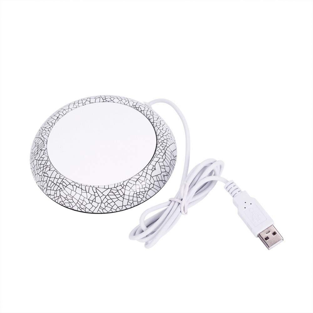 USB Holzmaserung Tasse Wärmer Heat Beverage Mug Matte Büro Tee Kaffee Heizung Pad(White Porcelain Pattern)