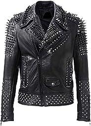 Leatheromatic's Brando Biker Rock Punk Spike Studded Motorcycle Leather Jacket for Men Black Genuine Lea