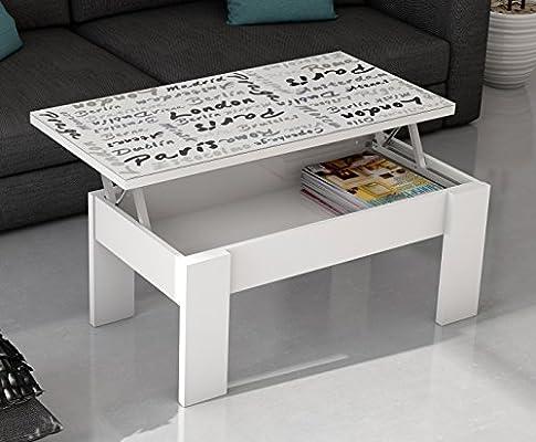 Abitti Mesa de Centro elevable Blanca con serigrafia para salón ...