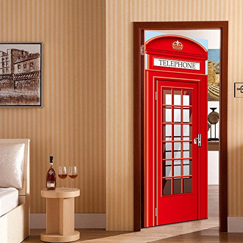 3D Door Mural Wallpaper Red Telephone Booth Free Sticker Decoration, PEEL and STICK - Easy-to-clean, Durable (And Peel Murals Stick)