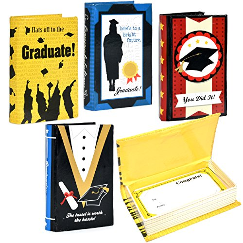 Party Gift Book (4 Graduation Gift Card Holders Congrats Grad Cardboard Money Book Box with Magnetic Closure Ideal for High School, College and More, Graduation Party Favors, by Gift Boutique)
