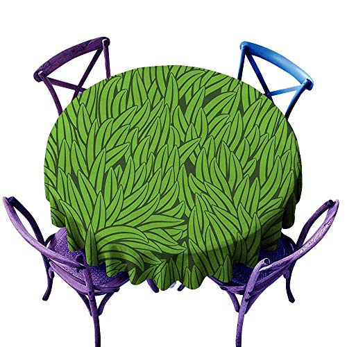 ScottDecor Green Dinning Tabletop Decoration Hand Drawn Style Grass Pattern Abstract Simplistic Environmental Growth Eco Patio Round Tablecloth Lime Green Emerald Diameter - Table Eco Round Patio