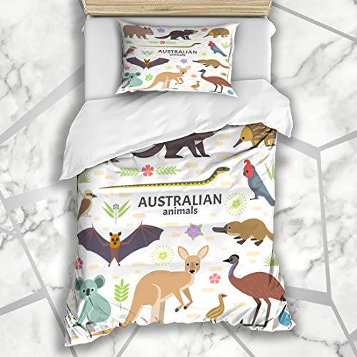 Ahawoso Duvet Cover Sets Twin 68X86 Flat Wombat Australian Flying Fox Kangaroo Nature Egg Emu Koala Platypus Australia Design Microfiber Bedding with 1 Pillow Shams