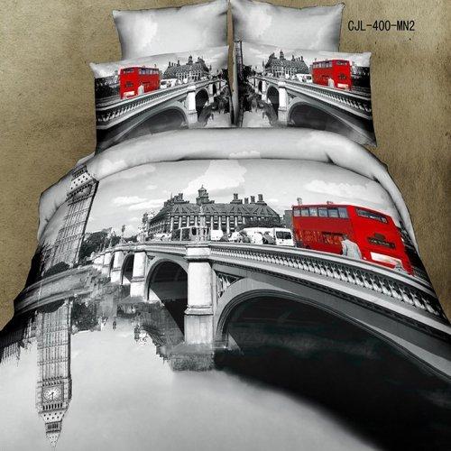 Sweetdream' D, Oil Painting 3d Bedding T87 Red Bus Duvet Cover Queen Luxury Wedding Set Cotton Romantic Print Bed Sheets 4pcs