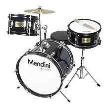 Mendini 3-Piece 16-Inch Junior Drum Set, Metallic Black - MJDS-3-BK