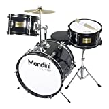 Image of Mendini by Cecilio 16 inch 3-Piece Kids / Junior Drum Set with Adjustable Throne, Cymbal, Pedal & Drumsticks, Metallic Black, MJDS-3-BK