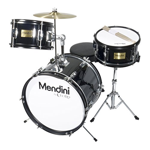 Mendini by Cecilio 16 inch 3-Piece Kids/Junior Drum Set with Adjustable Throne, Cymbal, Pedal & Drumsticks, Metallic Black, MJDS-3-BK