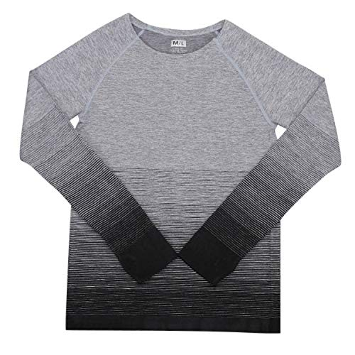 Shirley's Favorite-athletic-shirts Sport Women Gradient Color Long Sleeve Shirt Elastic Lady T-Shirt Outdoor,Black,L