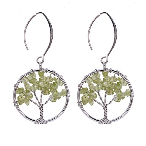 Silver Olive Family Celtic Tree of Life Peridot Gemstone August Birthstone Wire Wrapped Crystal Earrings Handmade Fashion Jewelry for Women ()