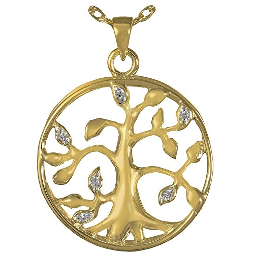 Memorial Gallery 3719gp Tree of Life 14K Gold/Sterling Silver Plating Cremation Pet Jewelry by Memorial Gallery