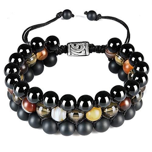 - CAT EYE JEWELS 8mm Natural Healing Stones Beads Bracelet Triple Layered Adjustable Macrame H006