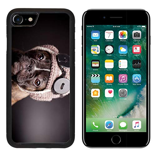 - MSD Apple iPhone 8 Case Aluminum Backplate Bumper Snap Case Image 29870726 French Bulldog Puppy in Knit Pilot Helmet