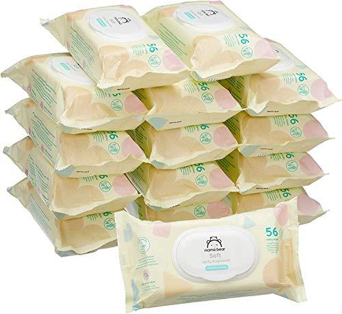 🥇 Marca Amazon –  Mama Bear Soft Toallitas húmedas para bebé – 15 Paquetes