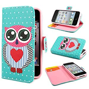TUTUWEN Owl Painting Art Design PU leather Flip Cover Case for Apple iphone 4 4S