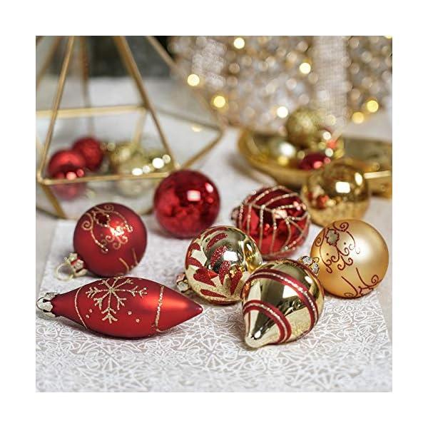 Valery Madelyn Palle di Natale Vetro Addobbi Natalizi Set, 24 Pezzi 6-10.5cm Luxury Red And Gold Palline di Natale Decoration for Addobbi Natalizi per Albero 7 spesavip